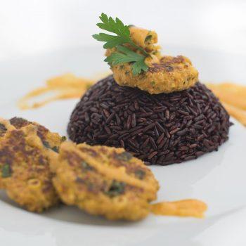 Veggie balls with coconut turmeric sauce