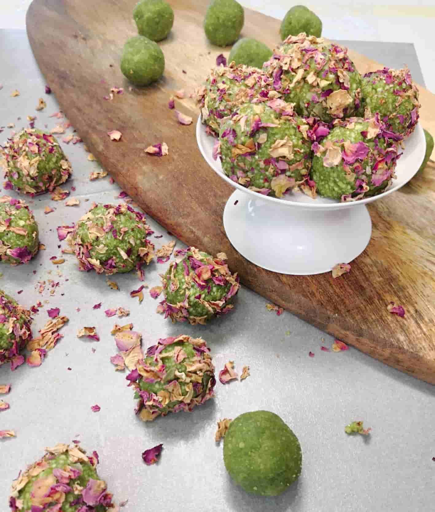 Amygdalota-almond-truffles-matcha-rose-petals-1-recipe-dessert