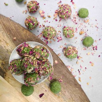 Amygdalota (almond truffles) with matcha & rose petals