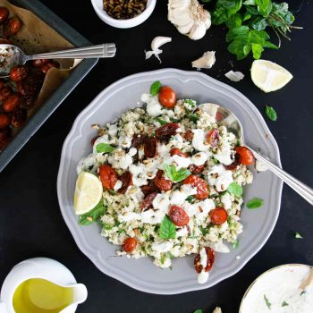 Couscous with roasted tomatoes and tzatziki