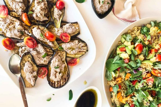 Quinoa-salad-grilled-aubergines-walnut-spread-1